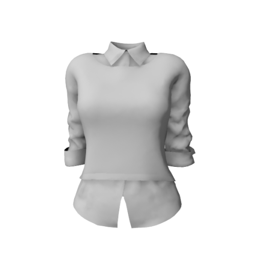 Coming soon - Ladies Crew Neck Sweater With Rolled Up Sleeves Shirt Under mlc
