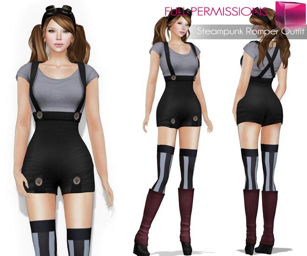 7221f63f32a242 MI Rigged Mesh Steampunk Romper Outfit. AD Steampunk Romper outfit