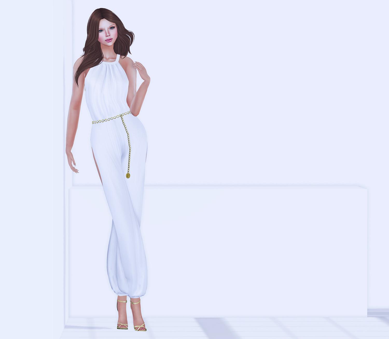 HR_MI Ladies Side Slit Jumpsuit With Chain Belt 4