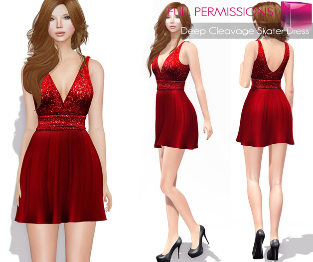 AD_Deep_Cleavage_Skater_Dress