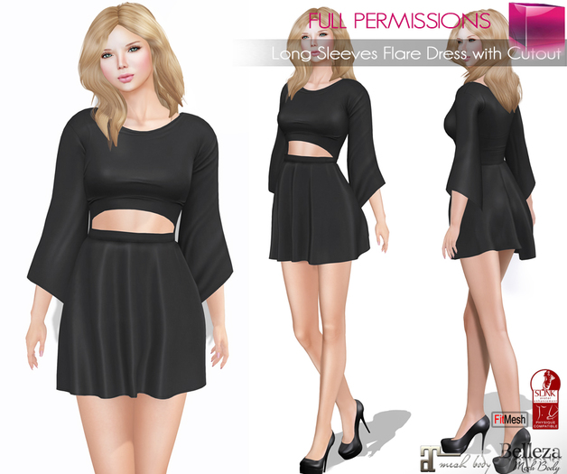 AD_Long_Sleeves_Flare_Dress_with_Cutout_fitmesh