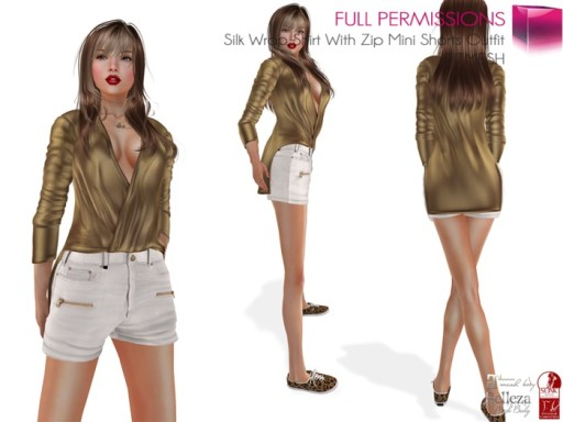 Silk_Wrap_Shirt_With_Zip_Mini_Shorts_Outfit_FITMESH