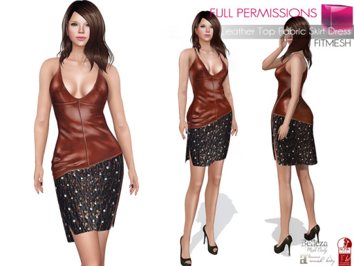 MKT_Leather_Top_Fabric_Skirt_Dress_Fitmesh